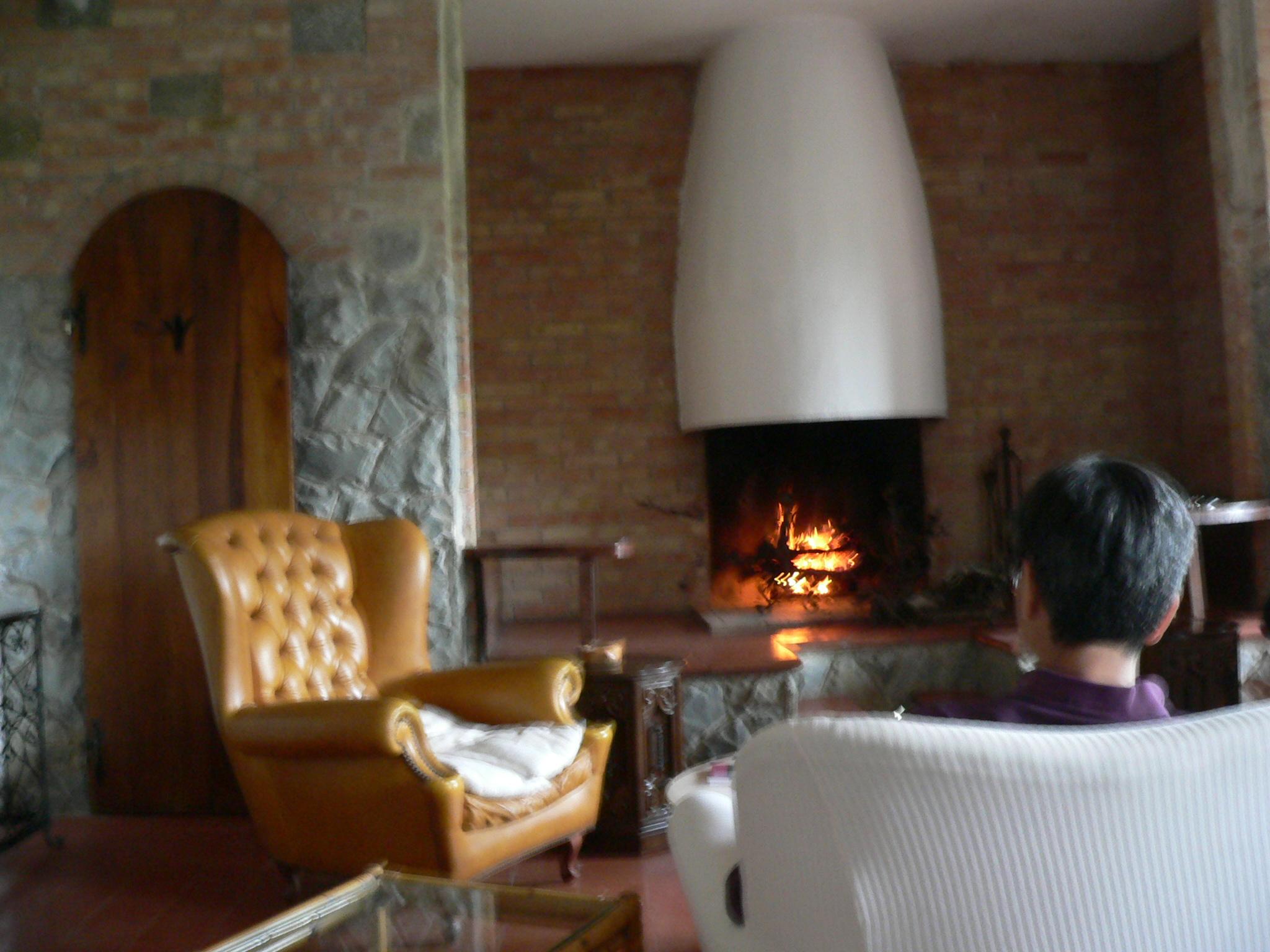 房子的客厅很大,也有火炉